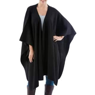 Versatile Black Alpaca Wool Wrap (