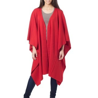 Fire Red Artisan Designer Handmade Women's Clothing Fashion Natural Fiber Soft Peruvian Alpaca Wool Ruana Cape Shawl Wrap (Peru)