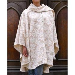 'Snow Flowers' Alpaca Wool Reversible Ruana Cloak (Peru)