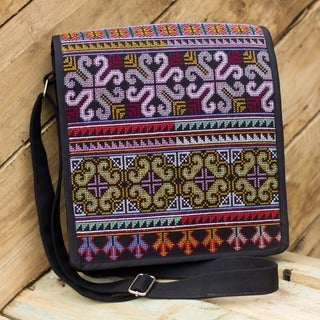 Hmong Pride Hill Tribe Style Multicolor Embroidery on Black Adjustable Strap Womens Cross Body Messenger Shoulder Bag (Thailand)