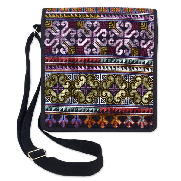 888a14b12ecc Hmong Pride Hill Tribe Style Multicolor Embroidery on Black Adjustable  Strap Womens Cross Body Messenger Shoulder