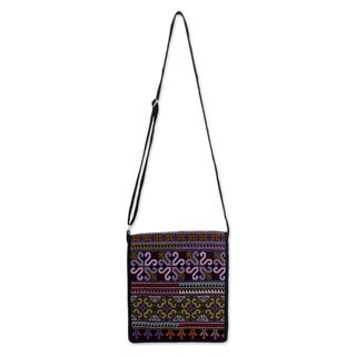 Hmong Pride Hill Tribe Style Multicolor Embroidery on Black Adjustable Strap Womens Cross Body Messenger Shoulder Bag (Thailand) https://ak1.ostkcdn.com/images/products/2678173/P10873662.jpg?_ostk_perf_=percv&impolicy=medium