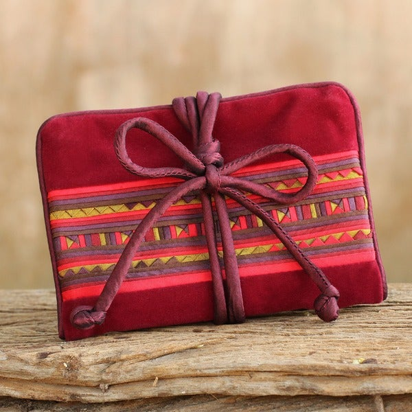 Red Burgundy Hill Tribe Textile Design Two Interior Zip Pockets and Ring Roll Womens Silk Travel Storage Jewelry Roll (Thailand)