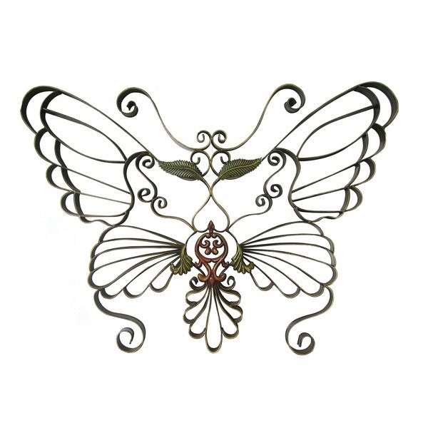 International Caravan Handwrought Metal Butterfly Wall Design