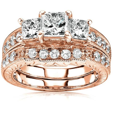 Annello by Kobelli 14k Gold 1 5/8ct TDW Three-Stone Princess Diamond Antique Bridal Ring Set