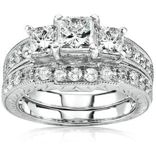 Annello 14k Gold 1 5/8ct TDW Three-Stone Princess Diamond Bridal Ring Set|https://ak1.ostkcdn.com/images/products/2678865/P10874142.jpg?impolicy=medium