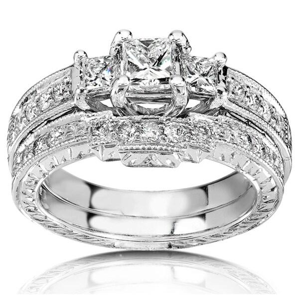 Annello by Kobelli 14k White Gold 1ct TDW Diamond Bridal Rings Set (HI, I1-I2)