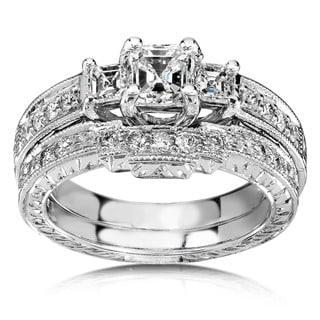 Annello by Kobelli 14k White Gold 1 1/5ct TDW Diamond Bridal Rings Set (H-I,SI1)