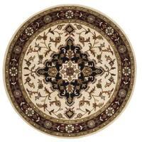Safavieh Handmade Heritage Traditional Tabriz Ivory/ Red Wool Rug - 8' x 8' Round