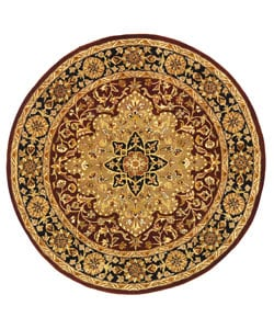 Safavieh Handmade Heritage Traditional Tabriz Red/ Black Wool Rug (6' Round)