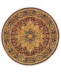 Safavieh Handmade Heritage Traditional Tabriz Red/ Black Wool Rug (6' Round) - 6' Round