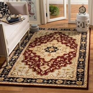 Safavieh Handmade Heritage Traditional Tabriz Red/ Black Wool Rug (6' x 9')