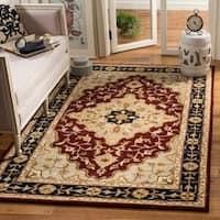 "Safavieh Handmade Heritage Traditional Tabriz Red/ Black Wool Rug - 7'6"" x 9'6"""