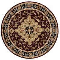 Safavieh Handmade Heritage Traditional Tabriz Red/ Black Wool Rug - 8' x 8' Round