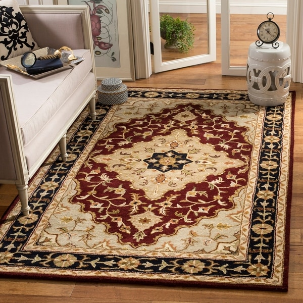 "Safavieh Handmade Heritage Traditional Tabriz Red/ Black Wool Rug - 8'3"" x 11'"