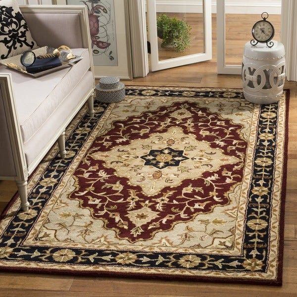 Safavieh Handmade Heritage Traditional Tabriz Red/ Black Wool Rug - 8'3 x 11'
