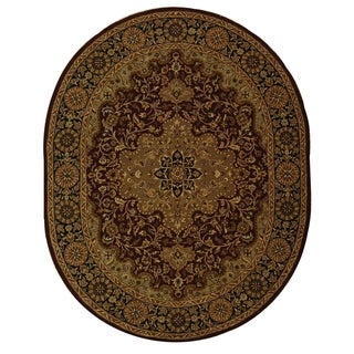 Safavieh Handmade Heritage Traditional Tabriz Red/ Black Wool Rug (4'6 x 6'6 Oval)