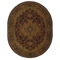 "Safavieh Handmade Heritage Traditional Tabriz Red/ Black Wool Rug - 4'6"" x 6'6"" oval"