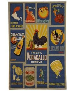 Safavieh Hand-hooked Vintage Poster Blue Wool Rug (5'3 x 8'3)