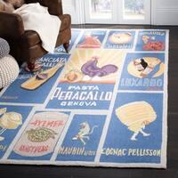 "Safavieh Hand-hooked Vintage Poster Blue Wool Rug - 5'-3"" X 8'-3"""