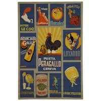 Safavieh Hand-hooked Vintage Poster Blue Wool Rug - 6' x 9'