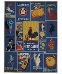 Safavieh Hand-hooked Vintage Poster Blue Wool Rug - 7'9 x 9'9