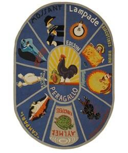 Safavieh Hand-hooked Vintage Poster Blue Wool Rug (4'6 x 6'6 Oval)
