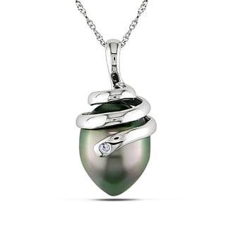 Miadora 14k White Gold Black Tahitian Pearl Necklace (10-11 mm)
