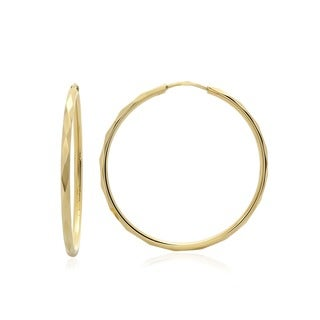 14k Faceted Yellow Gold Hoop Earrings