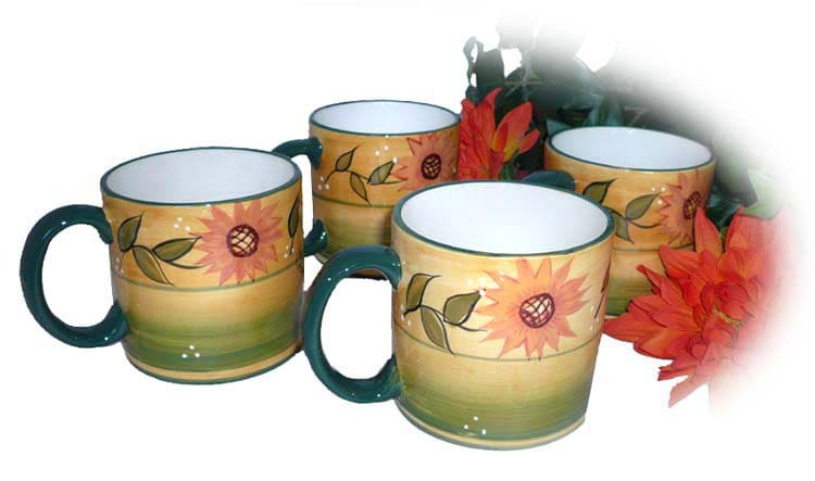 Hand-painted Sunflower Garden 4-piece Mug Set