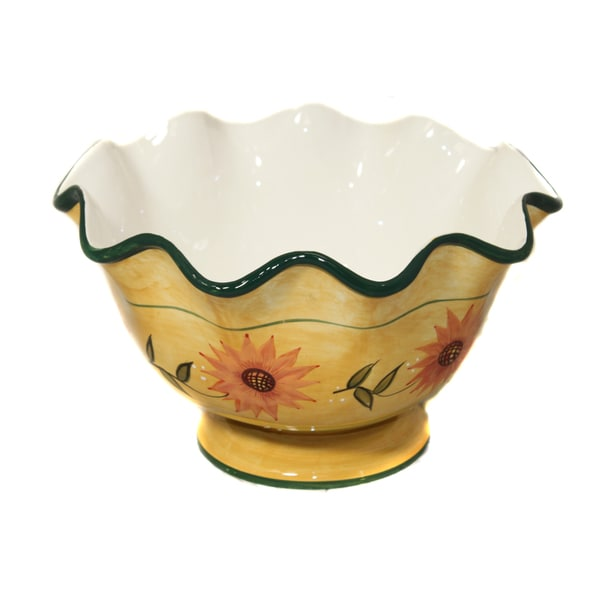 Sunflower Garden Hand-painted Fruit Bowl