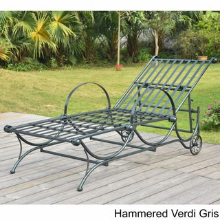 International Caravan Mandalay Multi-Position Iron Chaise Lounge (Option: Hammered Verdi Gris)