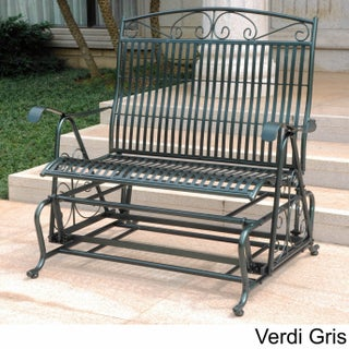 International Caravan Mandalay Iron Double Glider Bench Seat (Option: Hammered Verdi Gris)