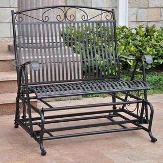 Link to International Caravan Mandalay Iron Double Glider Bench Similar Items in Patio Furniture