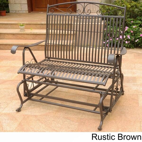 International Caravan Mandalay Iron Double Glider Bench Seat   Free  Shipping Today   Overstock.com   10876359