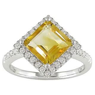14k White Gold Square Citrine and Diamond Ring