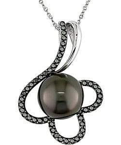 14k Gold Tahitian Pearl and 1/4ct TDW Black Diamond Necklace