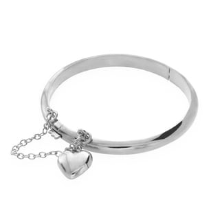 Sterling Essentials Sterling Silver Children's 6-inch Heart Charm Bangle - N/A