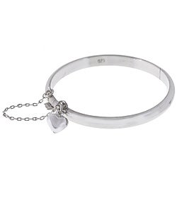 Sterling Essentials Sterling Silver 6-inch Tween Bangle with Heart Charm