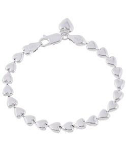 Sterling Essentials Sterling Silver 7-inch Italian Bracelet with Heart Charm