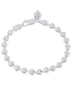 Sterling Silver 7-inch Italian Bracelet with Heart Charm