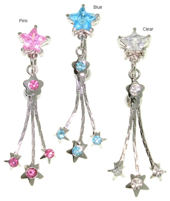 Carolina Glamour Collection Reverse Superstar Stainless Steel Austrian-crystal Dangle Navel Ring