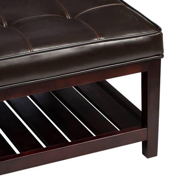 Terrific Shop Copper Grove Hudson Dark Brown Leather Ottoman Free Ncnpc Chair Design For Home Ncnpcorg