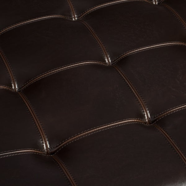 hudson dark brown leather ottoman free shipping today - Brown Leather Ottoman