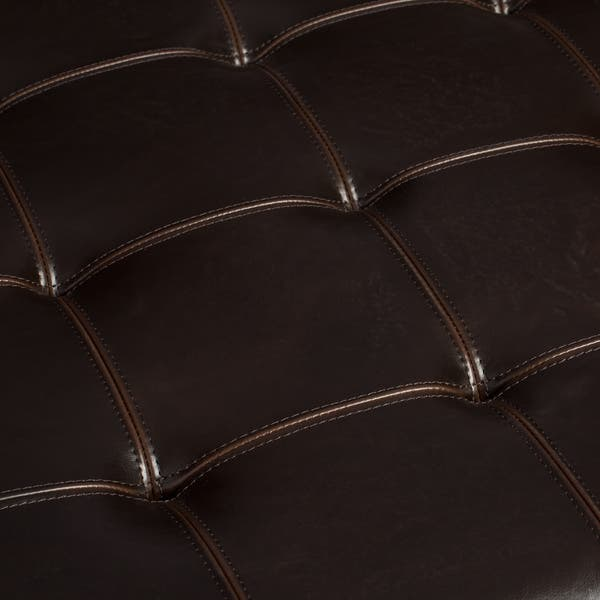 Copper Grove Hudson Dark Brown Leather Ottoman Free