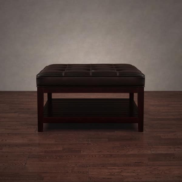 Brilliant Shop Copper Grove Hudson Dark Brown Leather Ottoman Free Ncnpc Chair Design For Home Ncnpcorg