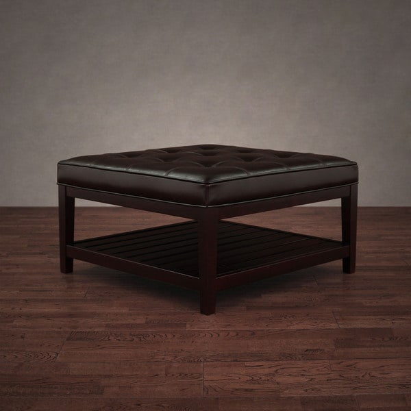 Hudson Dark Brown Leather Ottoman   Free Shipping Today   Overstock.com    10877650