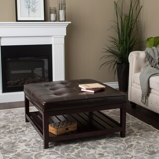 Hudson Dark Brown Leather Ottoman