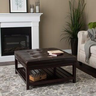 Superbe Pine Canopy Hudson Dark Brown Leather Ottoman
