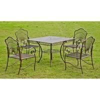 International Caravan Sun Ray Five-piece Iron Lawn Furniture Set
